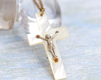 Mother of Pearl Cross Necklace - Crucifix Pendant on Chain - Souvenir from Jerusalem