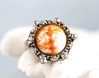 Gothic Domed Ring With Orange Marble Stone - Size 7.5 adjustable