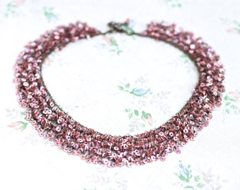 Pink Bib Necklace - Sequins - Boho Jewelry - Boho Collar Necklace