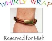Reserved for Mish Natural Camel Leather ,with three Antique brass tube beads, and a brass magnet