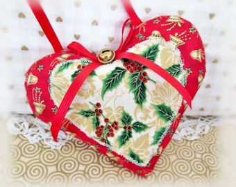"Heart Ornament  Home Decor Heart Pillow, 5"" Christmas Print Fabric Handcrafted Handmade CharlotteStyle Handcrafted Folk Art"