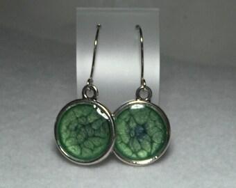 Green blue prism earrings