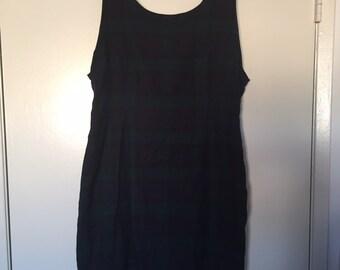 Laura Ashley Wool Blend Navy Green Plaid Tartan Dress