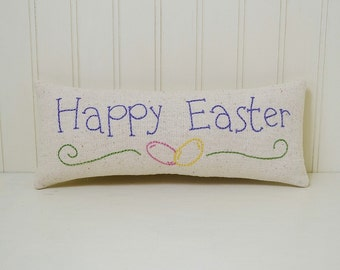 Happy Easter Decorative Pillow - Hand Embroidered Shelf Sitter - Easter Home Decor - Jelly Beans Accent Pillow - Purple - Osnaburg