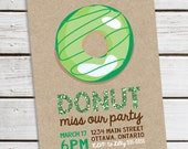 Personalized Printable St. Patrick's Day Donut Invitation - Printable Invite for St. Patrick's Day Parties Faux Glitter Text 2 .. sp04
