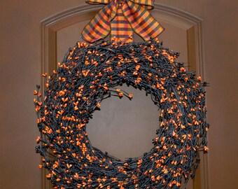 Halloween Wreath - Halloween Berry Wreath - Wreath hanger included