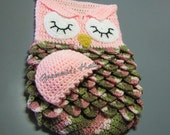 Baby cocoon and cap pink owl