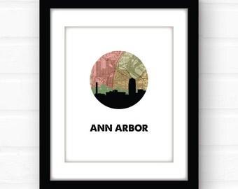 Ann Arbor map art   Ann Arbor, Michigan map print   Michigan art   Michigan print   city skyline print   Michigan skyline print   travel art