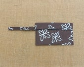 Wristlet - Wallet - iPhone Case - Keychain - brown and turquoise flowers