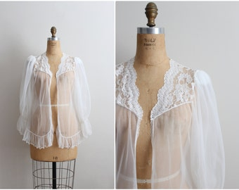 80s White Victorian Robe / White Sheer Vintage Lingerie /1980s Lingerie/ Wedding Nightgown/ One size