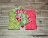 Baby Girl Burp Cloths Rose Pink and Green Burp Cloth Set - Girl Burp Rags