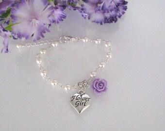 Flower Girl Bracelet-Pearl Flower Girl Bracelet-Violet Flower Girl Bracelet-Flower Girl Jewelry-Girls Pearl Bracelet-Junior Bridesmaid