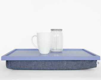 Lap Desk or Breakfast serving Tray - Light slat blue tray with Denim pillow