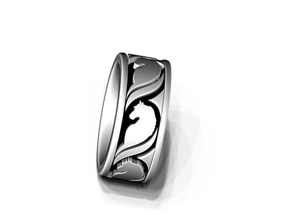 Horse ring in sterling silver - stylistic horse band