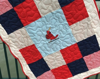 St. Louis Cardinals quilt or throw 43x61 in red, navy, and light blue