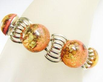 Vintage Peach Thermoset Confetti Bracelet 60s Pyrite Stone