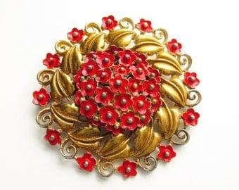Large Vintage Pot Metal Red Enamel Flower Brooch 1940s