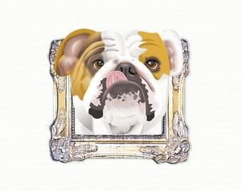 English Bulldog Tiny Art Print - Brown and White - Dog Art Print - Tiny Bulldog in a Frame