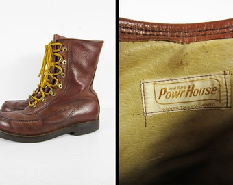 Vintage Powr House Hunting Boots Wards Moc Toe Brown Leather Lace Up - Size 9 D