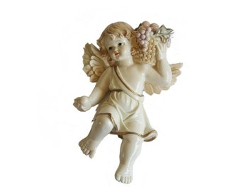 Vintage Putti Chalkware Italian Angel Wall Decor Basket of Fruit Angel Figurine Kitchen Christmas