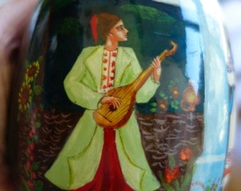LARGE Russian traditional hand painted easter egg on hard wood, watercolor and lacquer.