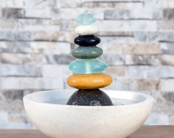Natural Septuple Rock Cairn Water Fountain with Glass