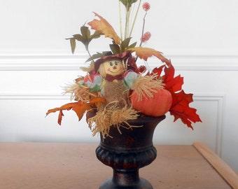 Scarecrow and Pumpkin Table Arrangement