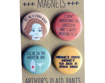 Arrested development, Lucille Bluth badges, pinback buttons, magnet set, Gangy badges