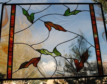 Stained Glass Window Panel  - Falling Leaves  Nature Series