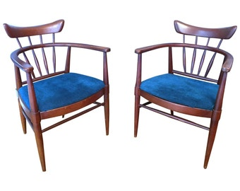 Free Shipping Edward Wormley Pair of Blue Mid Century Chairs. Fig House Vintage. Interior Design. Drexel