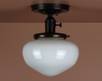 Semi Flush Lighting  w/ Acorn Shaped School House Glass Globe - Oil Rubbed Bronze - Lighting for Low Ceilings - Downrod Option
