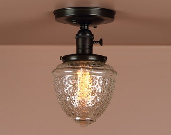 Semi Flush Light w/ Clear Textured Glass Globe - Hand Finished in Oil Rubbed Bronze  - Lighting for Low Ceilings - Downrod Option