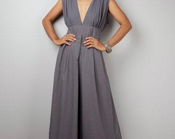 Grey Maxi Dress - Long Grey dress : Oriental Secrets Collection II