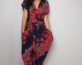 Boho Jumpsuit  / Floral Jumper Maxi Dress : Chic & Casual Collection