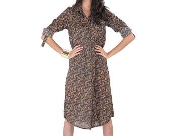 Paisley Shirt Dress / Long Sleeve Shirt / Long Shirt  / Women's shirt / Long Boho Shirt : Simply Touch Collection No.4