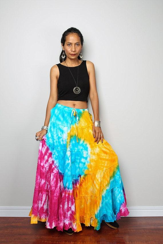 maxi skirt colourful skirt tie dye skirt funky