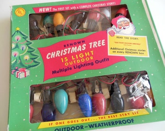 1956 String Christmas Lights Renown Qty 15 1950s Indoor Outdoor WORKING Christmas Glass Bulbs with Clips Boxed Christmas Lights