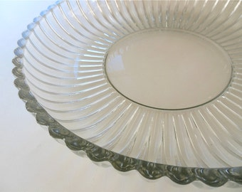 "Ribbed Clear Glass Platter 12"" Platter Fluted Glass Large Shallow Bowl Serving Sandwich Relish Plate Ribbed Glass"