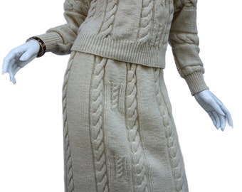 Hand-Knit Vintage early 80s Natural Wool Cable Sweater w/Matching Pull-on Skirt