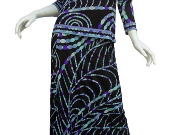 EMILIO PUCCI Vintage 60s Silk Jersey Maxi Skirt and Matching Top Vintage Sz14