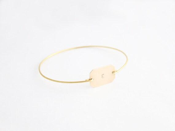 Personalized Bracelet, Monogram Bracelet, Custom Octagon Initial Bangle, Initial Jewelry, Personalized Jewelry, Initial Monogram Bracelet