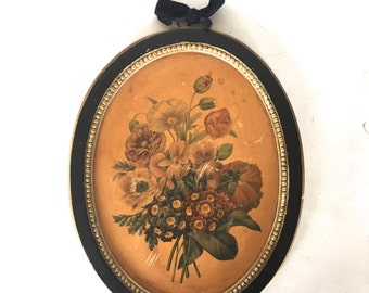Vintage Borghese flower print in a chalk ware frame