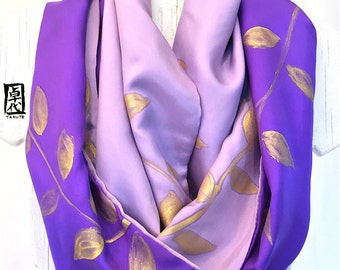 Infinity Scarf Purple, Silk Scarf Handpainted, Gift for her, Purple and Gold Leaves Scarf, Double layered Reversible Scarf, 14x72 in loop.