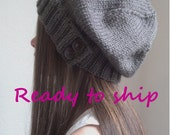 Knit slouchy hat -  color TAUPE -(choose your button/s)
