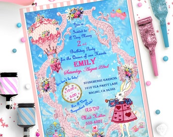 Alice in WONDERLAND INVITATION ~ Personalized Printable Download