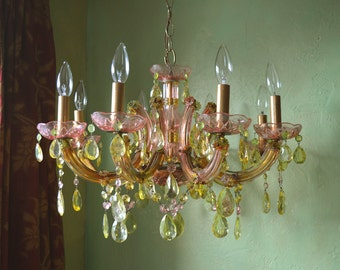 Glass and Crystal Chandelier Pair, Custom Order, ON RESERVE For Voodoo Doughnuts