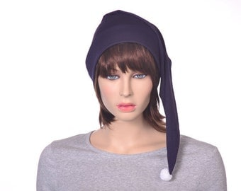 Navy Night Cap Cotton Long Stocking Sleep Hat Poor Poet Nightcap Traditional Victorian Sleeping Hat