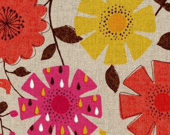 Country Table - Floral Coral Yellow - OXFORD Cotton from Cosmo