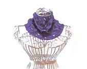 "READY to SHIP women's Summer cowl ""Purple Rain""  hand knit lace wedding scarf neckwear neck muff,"
