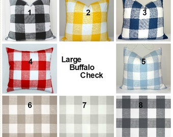 Large Buffalo Checked Blue Red Yellow Black Grey Pillow Covers Large Checked Pillow Covers Choose Size